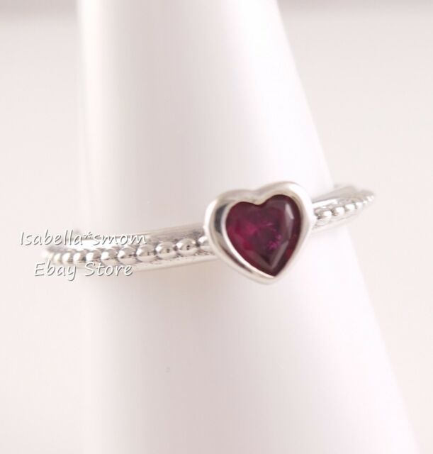 7c69661a1 ONE LOVE Genuine PANDORA Silver/Red Synthetic RUBY HEART RING Sz 7~54 NEW