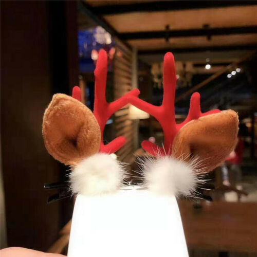 Christmas Antlers Hairball Hair Clips Womens Girls Kids Xmas Hair Accessories aa