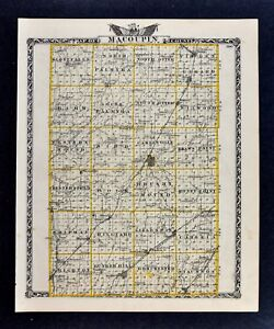 Details about 1876 Illinois Map - Greene Macoupin County Carlinville on tx county road map, la county road map, nc county road map, pa county road map,