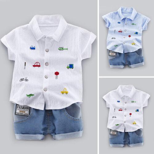 Baby Boys Toddler Kids Short Sleeve Shirt Tops+Shorts Printed Casual Summer
