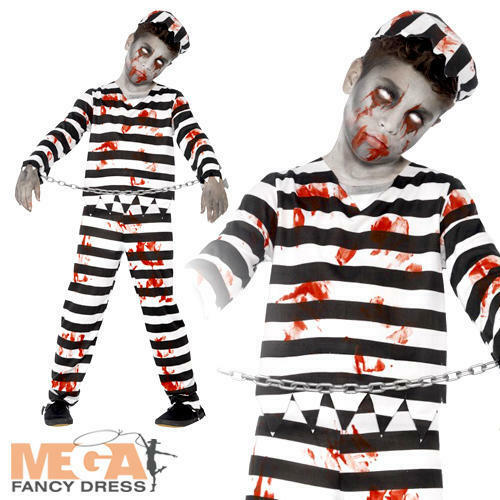 Zombie Convict Boys Fancy Dress Haloween Prisoner Horror Childrens Child Costume