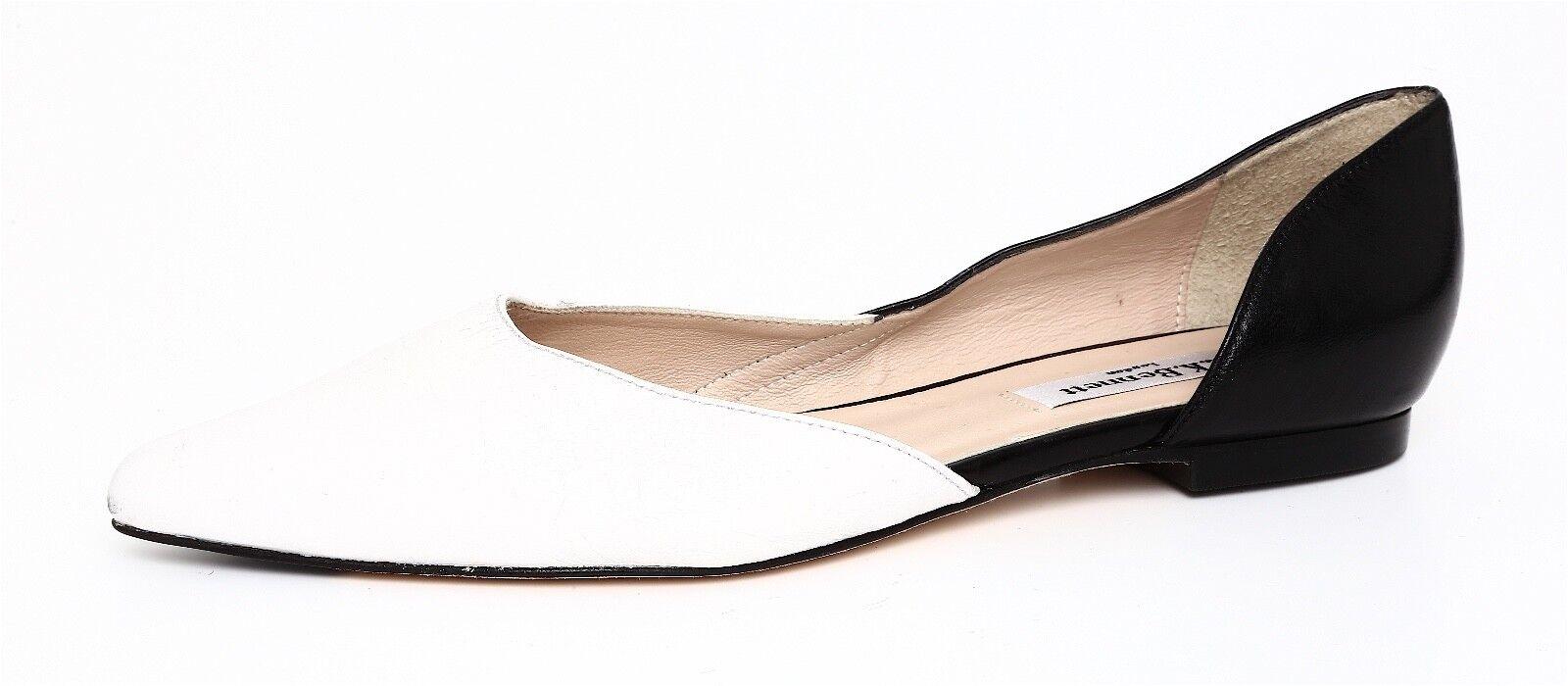 L.K. Bennett Women's White Black Black White Leather Slip On Flats Sz 36 90e5f9