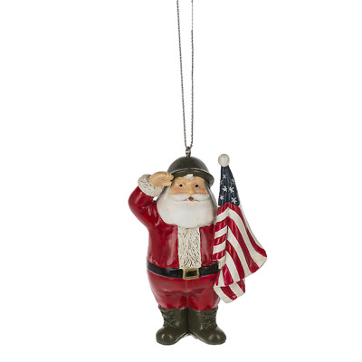 "SALUTING PATRIOTIC SANTA Christmas Ornament, 3.5"" Tall, by ..."