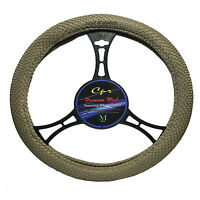 Mesh Beige Breathable Steering Wheel Cover Universal Fit Odorless White Insert