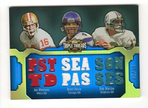 MARINO,FAVRE,MONTANA NFL 2011 TOPPS TRIPLE THREADS RELIC COMBOS (49ers,DOLPHINS