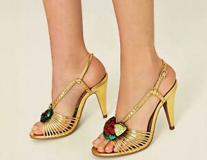 buy popular detailed pictures reliable quality ZARA Woman BNWT High Heel Golden Sandals Fruit Details Multi Strap ...