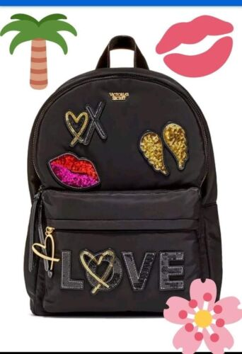 "Victorias Secret fashion show 2017 Patch Backpack /""LOVE/"" BLACK with sequins"
