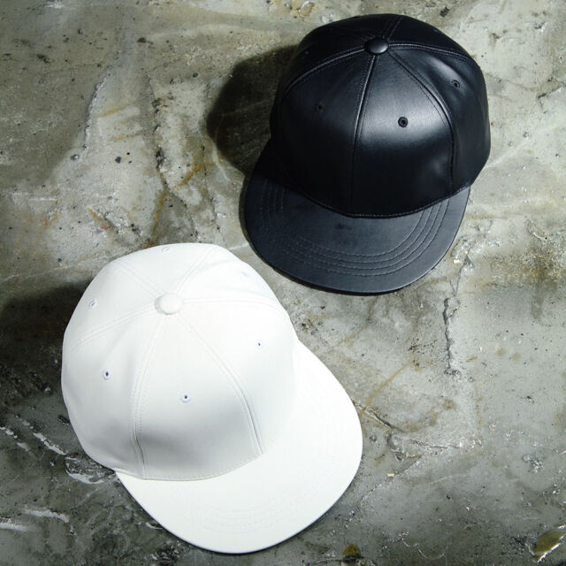 ByTheR 6-Panel Leather Snapback Basic Black White adustable Hat P000BCHJ