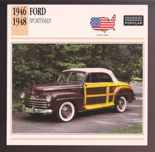 1946 1947 1948 Ford Sportsman Woody Car Photo Spec Sheet Info Stat ATLAS CARD