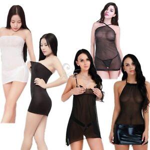 Sexy-Women-Lingerie-Babydoll-See-through-Sleepwear-Nightwear-Mesh-Dress-G-string