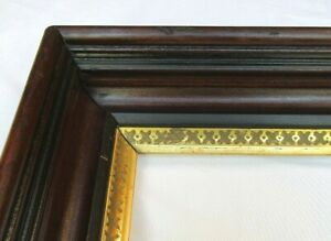 """Antique Fits 14"""" x 17"""" 19c Eastlake Deep Cove Shadow Box Gold Gilt Picture Frame"""