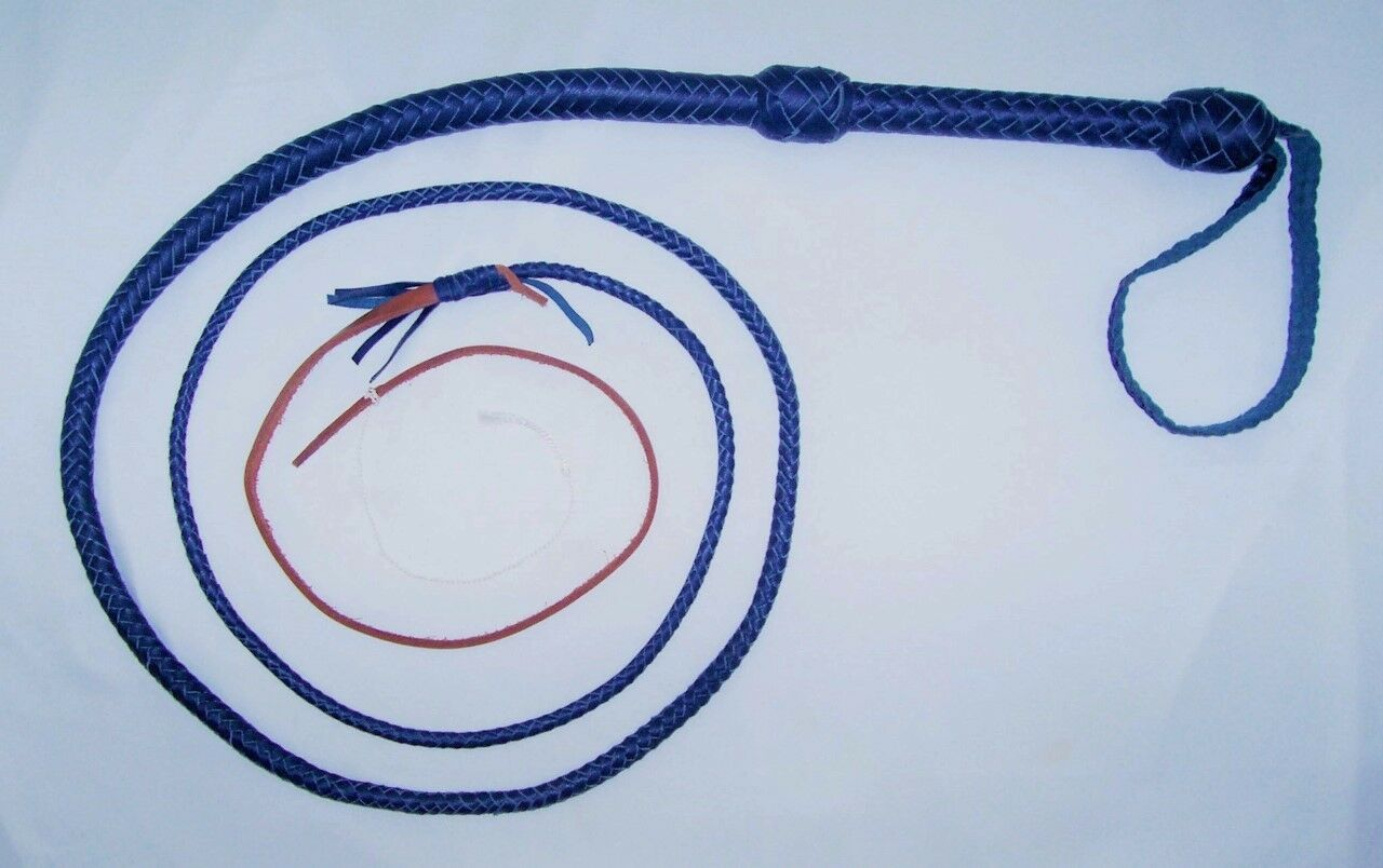 8 ft 12 Plait blu Real Leather Bullwhip Well weighted shotloaded  whip  WG812