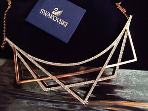 034-SWAROVSKI-034-modern-necklace-rose-gold-plated-crystals-BN-amp-Boxed