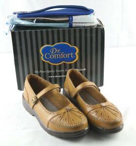 Dr-Comfort-Paradise-Mary-Janes-Womens-Sz-4-5-M-Tan-Leather-Diabetic-Shoes