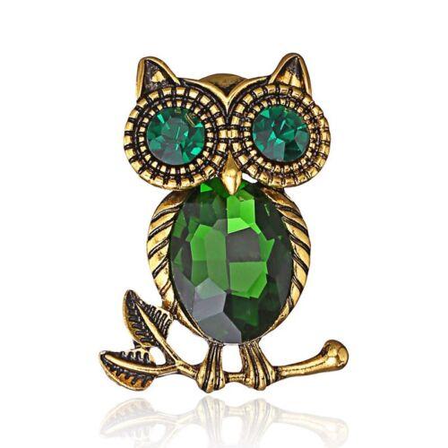 NEW Fashion Women Men Owl Crystal Rhinestone Brooch Pin Breastpin Jewelry Gift