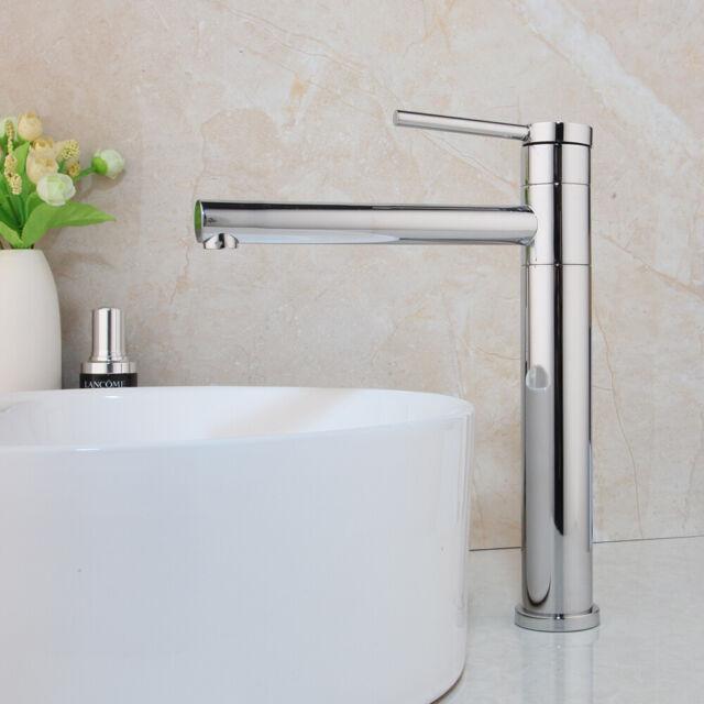 Swivel Spout Deck Mount Bathroom Basin Vessel Sink Mixer Vanity Faucet Chrom Tap