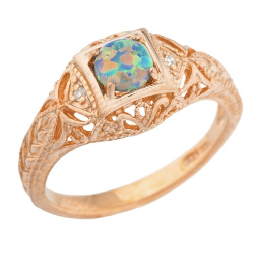 14Kt Rose Gold Plated Black Opal /& Diamond Round Ring