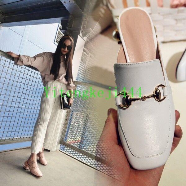 Hot Womens Horsebit Pearl Stud Loafer Mid Low Heel Pumps Backless Slide Mule NEW
