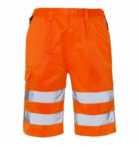 Da Uomo in Policotone Work Wear Hi Viz ADULTI CORTO 2 tasca laterale riflettente breve