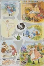 Chromo Le Suh Scènes rétro fillette 1792 Embossed Illustrations Vintage Girl