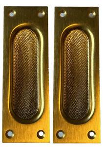 Muschelgriffe 2 Stück rechteckig Alu brüniert Schiebetürgriff 120 x 40 mm