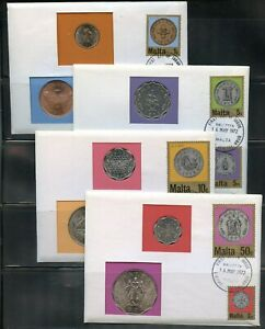 MALTA-UNC-COINS-ON-FIRST-DAY-OF-RELEASE-COVERS-CANCELED-16MAY1972