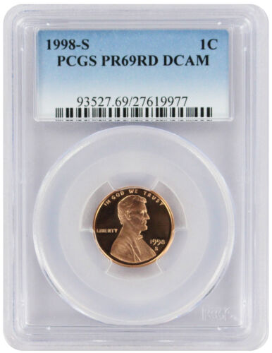 1998-S Lincoln Cent PR69RD DCAM PCGS