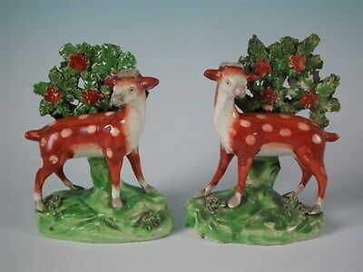 Pair Staffordshire deer with bocage figures