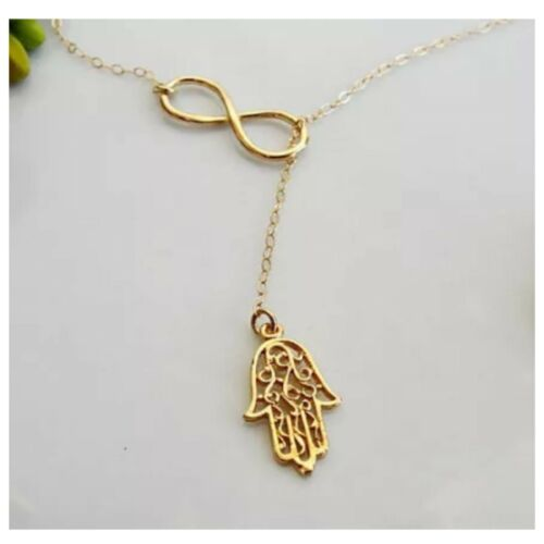Women Trendy Multi Layers Tassel Bar Coin Charm Hamsa Infinity Necklace Collar