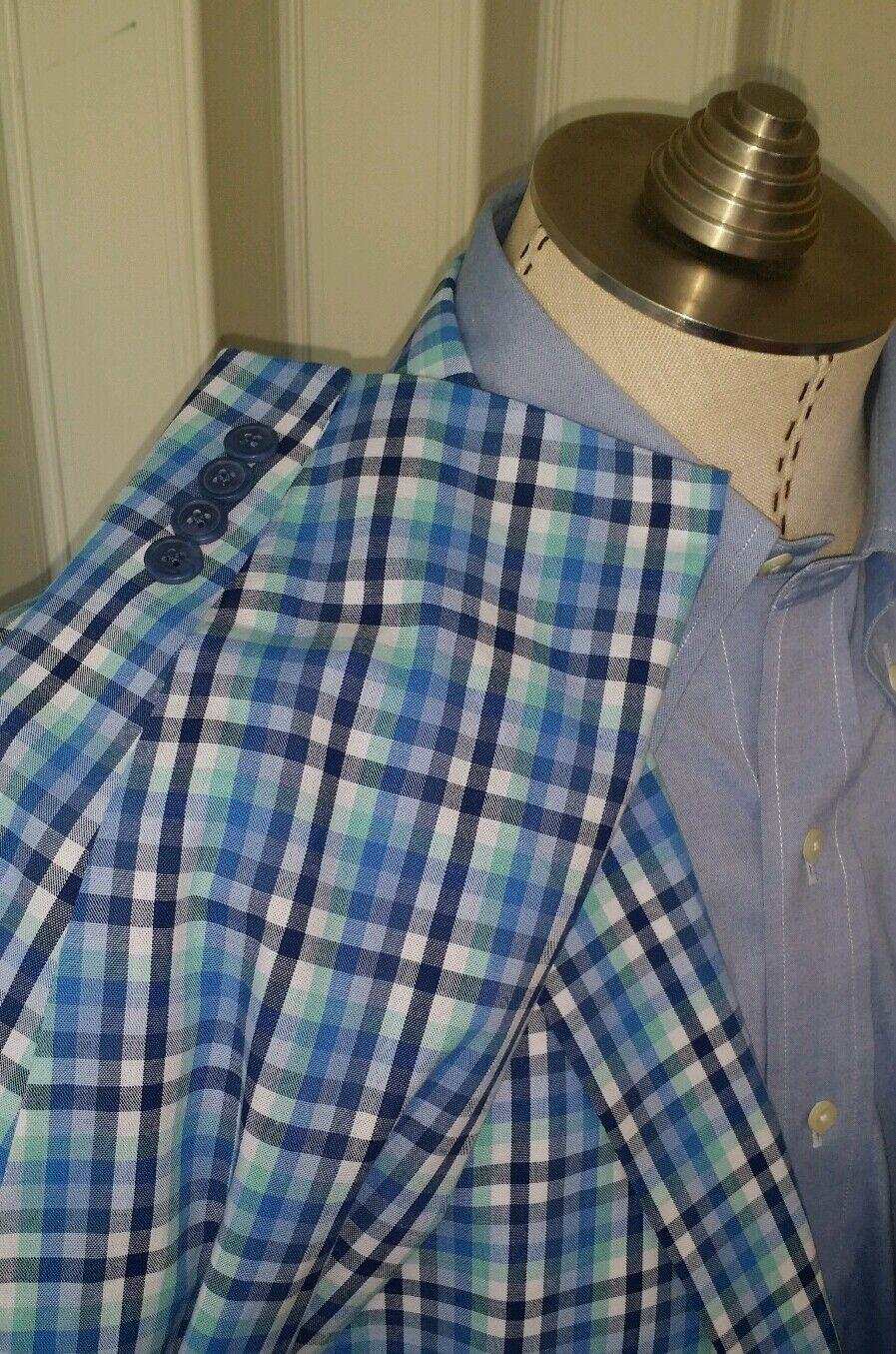 Nwt Neu Herren 48R Blau Grün Gingham Kariert Blazer Sakko 100% Cotton Kariert   | Toy Story  | Günstige Bestellung  | Schön und charmant