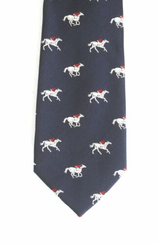 Horse Running Neck Tie Horse Racing Gift Gift Navy Blue Ideal Gift  187