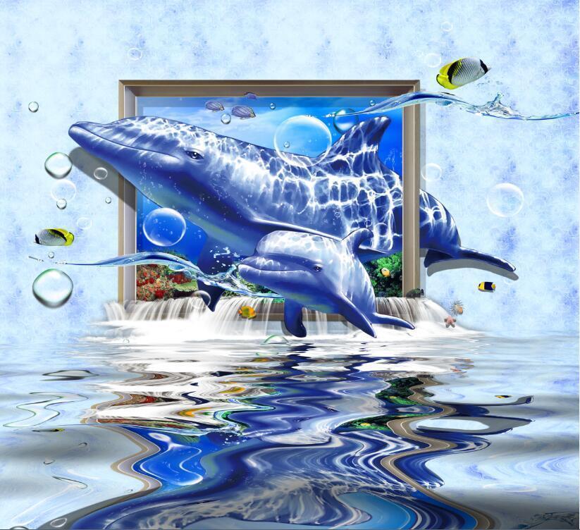 3D Dolphin window ocean wallpaper Decal Dercor Home Kids Nursery Mural  Home