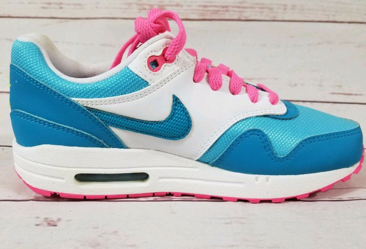 Nike Air Max 1 GS Youth Clear Water Pink Power bluee White 653653 400 Size 5Y