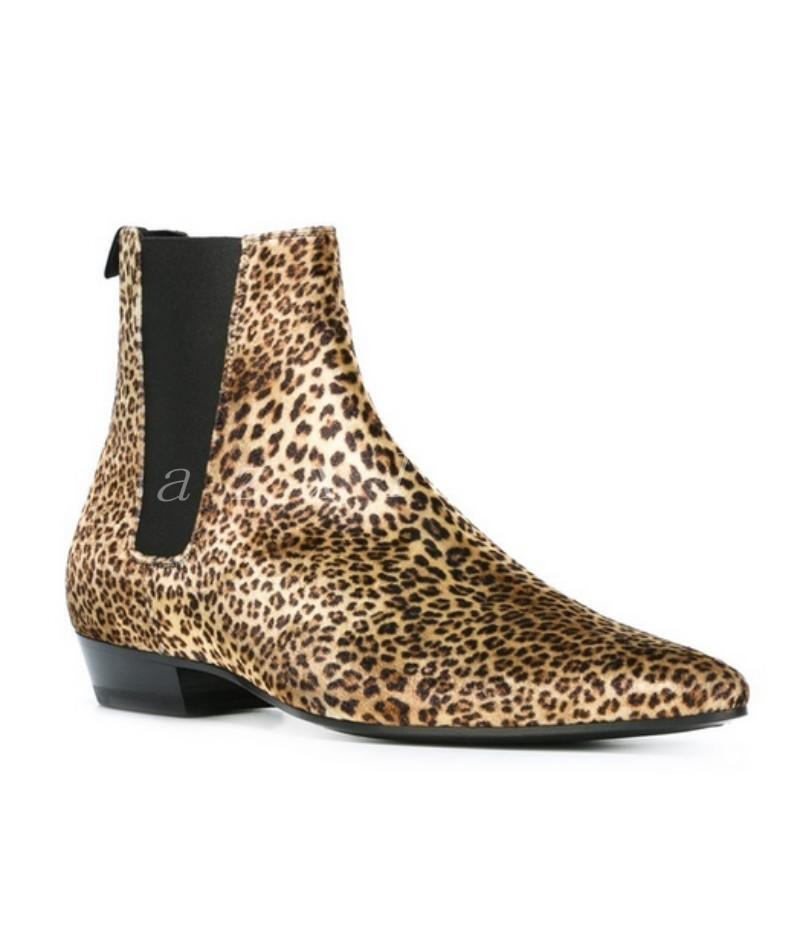 Hot Sale Uomo High Top Chelsea Ankle Stivali Pelle Chukka Leopard Shoes Flats