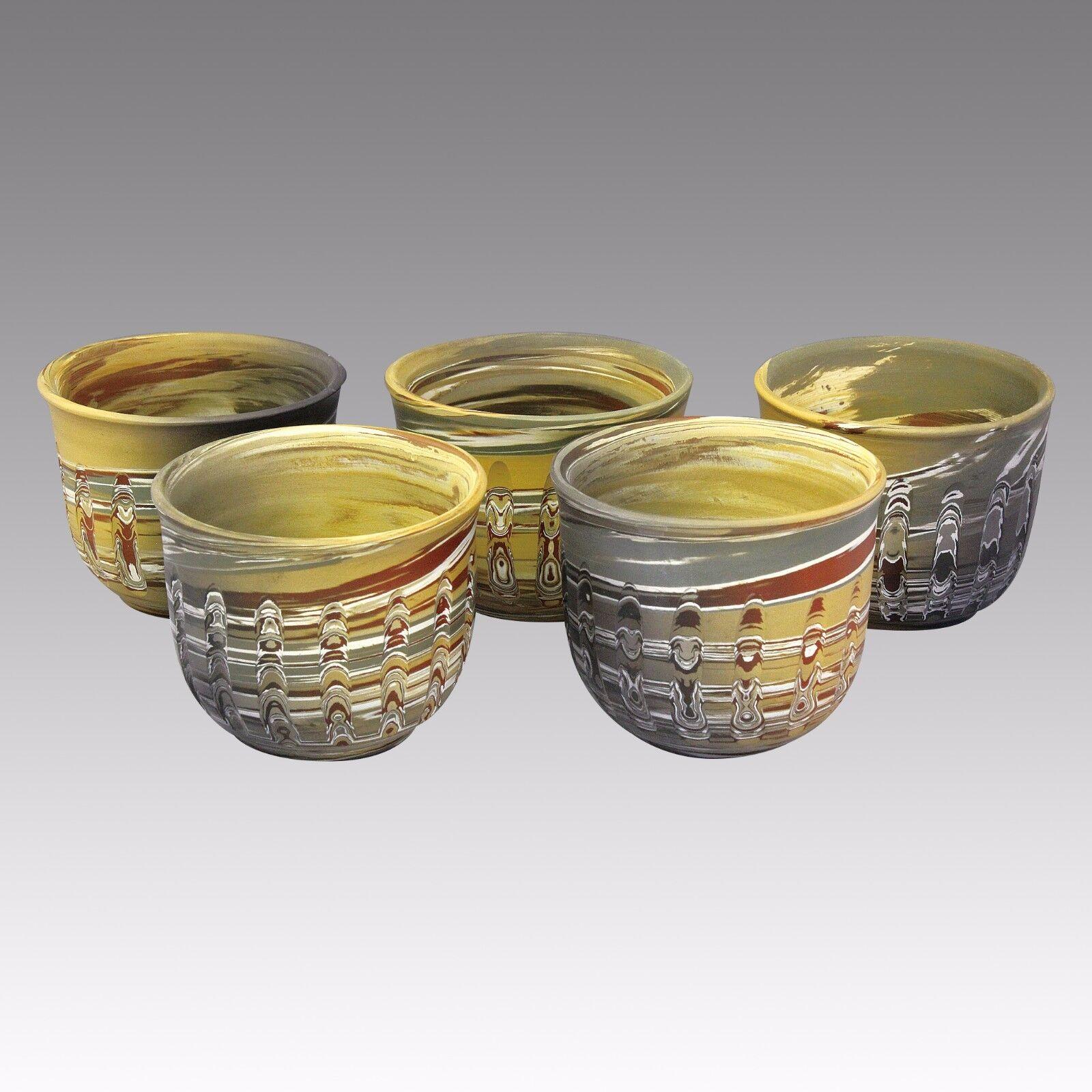 Corte verdeical-Tokoname cerámica taza de té  5 Chawan-japonés de cerámica