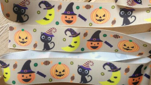 Orange Cats and Moon Black and Brown Cute Halloween Ribbon Pumpkins