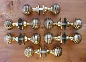 SOLID-BRASS-DOOR-KNOBS-SET-OF-6-PAIRS-034-BEEHIVE-034-STYLE
