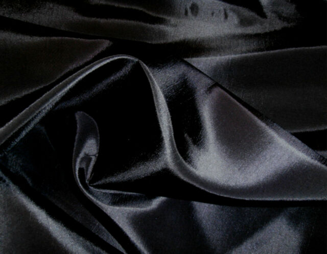 PLAIN BLACK TAFFETA FABRIC BRIDAL FANCY DRESS CRAFT BRIDAL BRIDESMAID P~M C5301