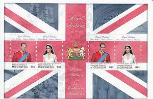 Micronesia 2011 MNH Royal Wedding 4v M/S I Prince William Kate Middleton