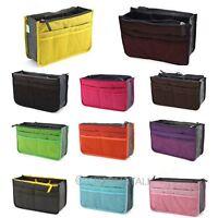 Unisex Insert Handbag Organizer Purse Bag Storage Travel Bath Makeup Tidy Nylon