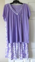 Women's Earth Angels Capri Pajamas Size Xl Purple Floral