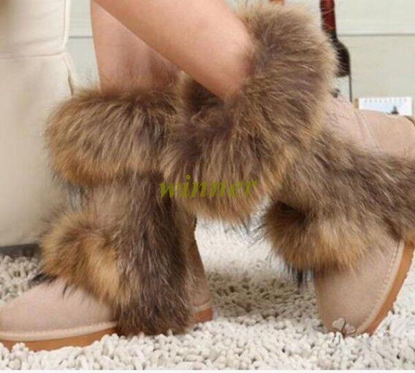 Damen Winter Schneestiefel Schneestiefel Schneestiefel Fuchshaar warm Stiefeletten flach Ankle Stiefel Gold a87734