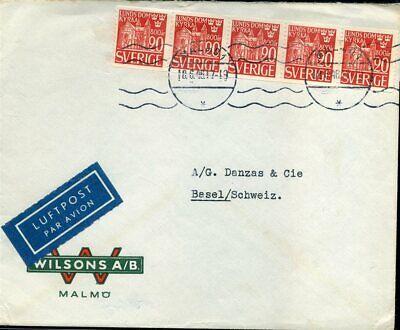 Auf Luftpost Malmö 1946 I.d Schweiz 319 Schweden Nr 5 Trendmarkierung 416302