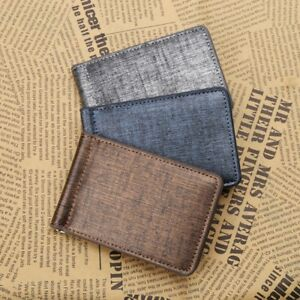 Cool-Ultra-Thin-Simple-Money-Clip-Faux-Leather-Card-Holder-Bifold-Mini-Wallet
