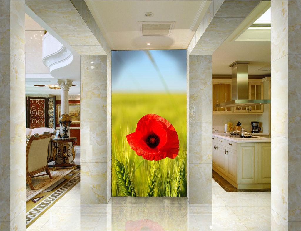 3D Rote Blaume Weizen 83 Tapete Wandgemälde Tapete Tapeten Bild Familie DE Summrr | Stilvoll und lustig  | Kostengünstig  | Exquisite Verarbeitung