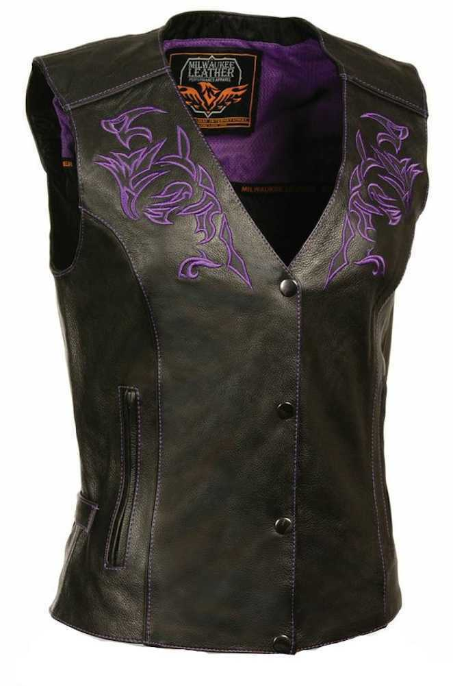 Milwaukee Leather Women's Vest w  Reflective Tribal Design & Piping ML1296
