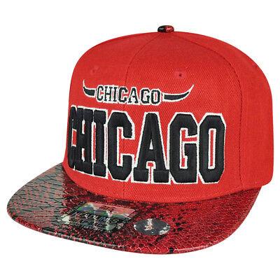 Weitere Ballsportarten Original Windy City Chicago Staat Rot Schlangenhaut Flache Bill Snapback Mütze Kappe Chi Moderater Preis Sport