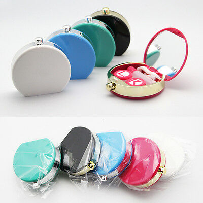 Perfume Bottle Style Contact Lens Box Holder Case Container Mirror Tweezers Set