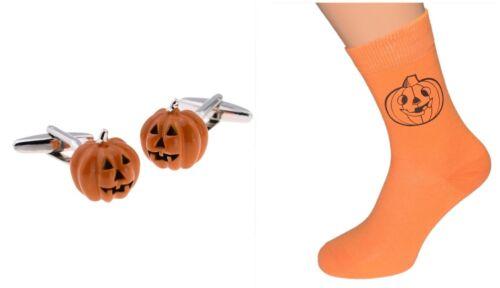 Halloween Men/'s Orange Pumpkin Pattern Socks /& Matching Cufflinks X2AJ085+X6N230