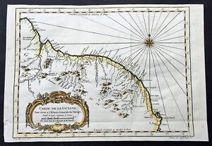 1757 N B Bellin Original Antique Map of Guyana, South America